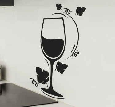 Vinilo decorativo cocina con copa de vino con flores alrededor que crea un estilo elegante. Elige el color y tamaño ¡Envío a domicilio!