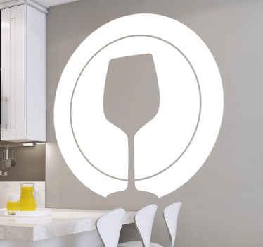 ガラスのカップとプレートのシルエットキッチンウォールアートデカールデザイン。色はカスタマイズ可能で、必要なサイズで利用できます。
