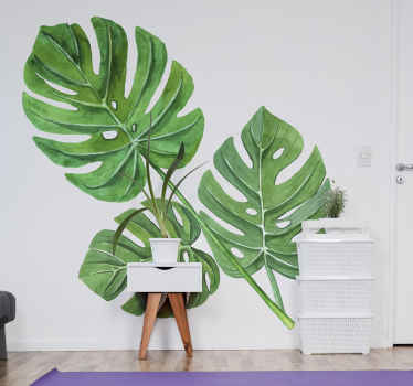 A monstera plant vinyl decoration for any space of choice. It is create in it bright and fresh looking green  colour. It is available in any size.