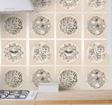 Fliesen Aufkleber für eine Küche mit dem Design von verschiedenen Pasta Tellern, es ist einfach anzuwenden und aus einem original Vinyl Material hergestellt.