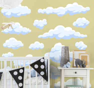 An illustrative wall art sticker to decorate the space of children with realistic appearance of cloud design in multiple. Easy to apply.