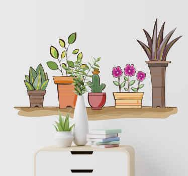 Dekoratives Blumen Wandtattoo für zu Hause und im Büro in Form von Blumensets im Regal. Es ist in jeder gewünschten Größe erhältlich.