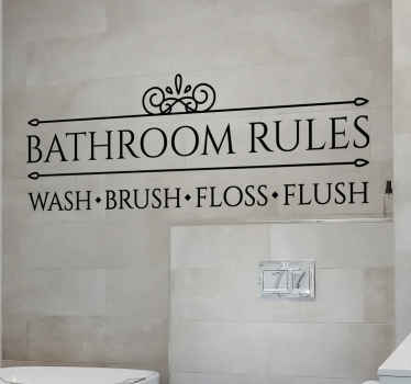 A bathroom wall sticker with bathroom rules with simple rules for hygiene. It is available in different size and colour options.
