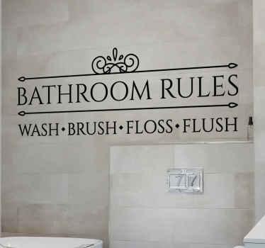 Un sticker salle de bain présentant des règles simples à respecter dans la salle de bain. Il est disponible en différentes tailles et couleurs.