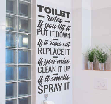 Bathroom wall sticker with different phrases on how to maintain a bathroom space. It is easy to apply and available in different sizes.