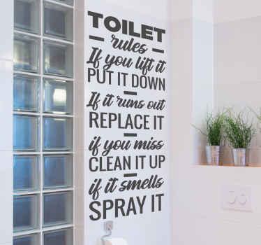 Sticker salle de bain présentant différentes règle d'usage des toilettes. Il est facile à appliquer et disponible en différentes tailles.
