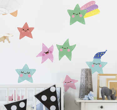 Kaunis kokoelma värillisiä tähtitarroja onnellisilla emoji-kasvoilla koristamaan lasten makuuhuonetta. Sitä on saatavana minkä kokoisena tahansa.