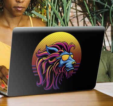 Moderner bunter Löwen Laptop Aufkleber, um einen Löwen in einem mehrfarbigen Design zu schaffen. Es ist in jeder gewünschten Größe erhältlich und die Anwendung ist einfach.
