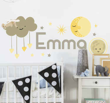 Nordic stars and clouds sticker with happy emoji faces to decorate the bedroom space of children. It is available in any size.