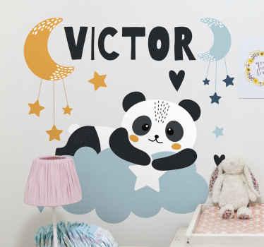 星星挂在月亮上,带有个性化的名字墙贴纸,用于儿童卧室装饰。它易于应用,并且可以提供任何尺寸。