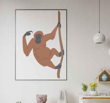 Se ami avere un tocco di scimmia nella giungla nel tuo spazio domestico, questo adesivo da parete con scimmia è per te. Lo abbiamo in diverse dimensioni.