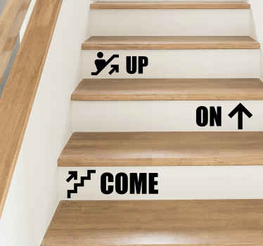 Text vinyl sticker for a stair to decorate  designed with different text that can be placed on each step of a stair. It is easy to apply.