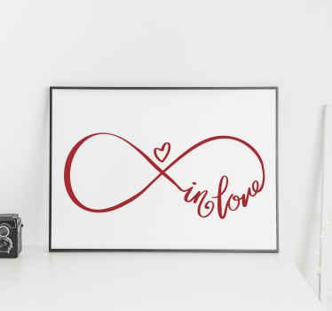 Dekorativer Wandaufkleber mit Liebes Symbol und Text. Es ist in verschiedenen Farben und Größen erhältlich. Einfach aufzutragen und selbstklebend.