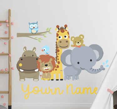 """Vinilo de animales de la selva para el dormitorio de los niños con animales y frase """"juntos para siempre"""". ¡Envío a domicilio!"""
