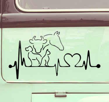 Sticker voiture avec battement de cœur et animaux dans un style silhouette. Une belle façon de dire combien vous souciez des animaux et que vous aimez protéger.