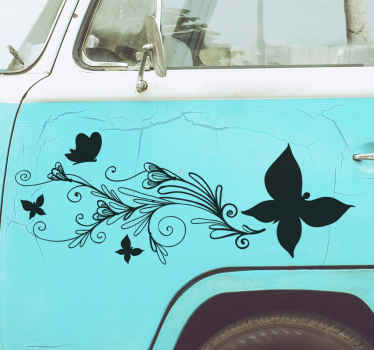 Best quality decorative car vinyl sticker with the design of ornamental flower with butterfly. It is easy to apply and available in different colours.