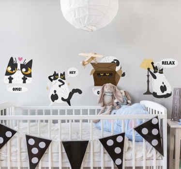 お子様の寝室を飾る楽しくてモダンな方法は、リアクションチャットでこのオリジナルのフィーチャーされたさまざまな猫のキャラクターを使用することです。