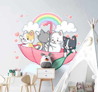 傘やその他の空間要素を持つ子猫の装飾的な子供の壁ステッカーデザイン。必要なサイズでご利用いただけます。