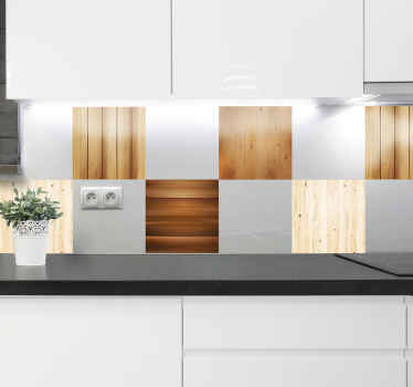 Buy our  ornamental wood texture tile decal, a design made with different colour textures of wood. It is available in any size required.