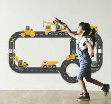 Children wall art stickler design of Builder trucks on the street. It is available in any required size and it application is easy.