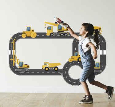 Vinilo niños de camiones constructores en una carretera para que jueguen, imaginen y disfruten de su decoración ¡Envío a domicilio!