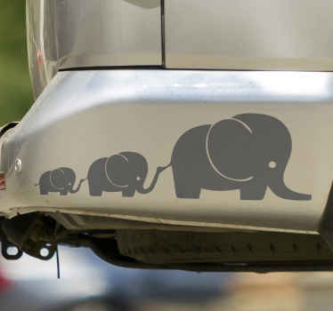 A decorative elephant animal sticker to decorate a vehicle space with the touch of wild life. The product is customisable in different color options.