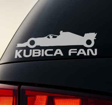 Dekoracyjna naklejka na samochód dla fanów Kubicy. Jest łatwa do zastosowania i dostępna w dowolnym wymaganym rozmiarze i kolorze!