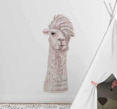 Realistic looking alpaca animal for kids wall sticker. It is made from high quality vinyl and it is easy to apply. Available in any size.