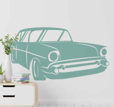 Decorative retro automobile car decal with customisable colour options. It is easy to apply, self adhesive and removable.