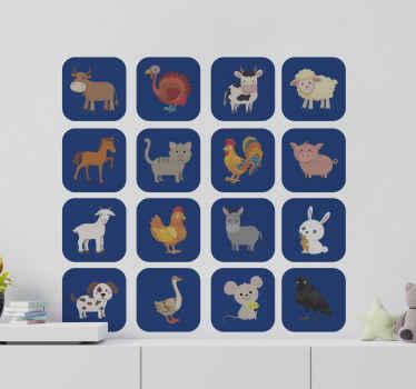 動物農場を描いたさまざまな動物の例示的な動物壁ステッカーデザインは、簡単に適用でき、さまざまなサイズで利用できます。