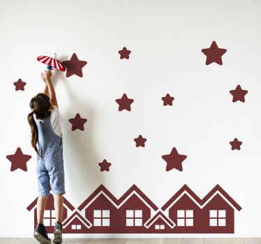 Adesivo murale in vinile silhouette di stelle su una città che può essere decorata nella camera dei bambini e in qualsiasi altro luogo. E' facile da applicare.
