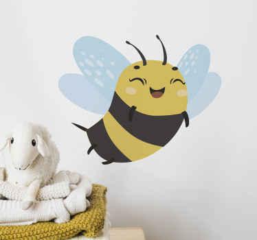 Geben Sie dem Schlafzimmer Ihres Kindes den Touch einer fliegenden Honigbiene mit einem fröhlichen Emoji-Gesicht. Es ist einfach anzuwenden und in verschiedenen Größen erhältlich.