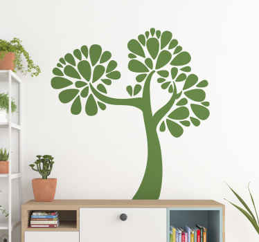Decorative home wall sticker design of a supported tree plant with customisable colour options. It is easy to apply and self adhesive.