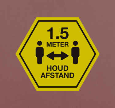 Een 15 meter afstand houden teken banner sticker. Het ontwerp wordt gekenmerkt door het iconische beeld van personen uit elkaar met afstandsmeting.