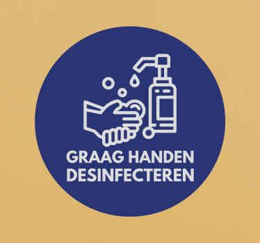 Een iconische Covid sticker om mensen te instrueren de hand te desinfecteren voordat ze een ruimte binnengaan. Het is verkrijgbaar in elke gewenste maat en eenvoudig aan te brengen.
