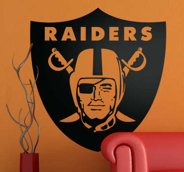 Emblema Adhesivo del equipo de fútbol americano Oakland Raiders de California. Deporte y competición en una pegatina.