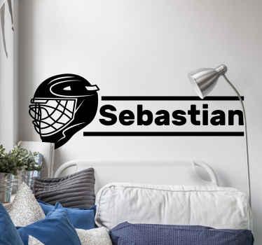 Vinilo habitación juvenil diseñado con un casco  de jugador de hockey con un nombre personalizable ¡Envío a domicilio!