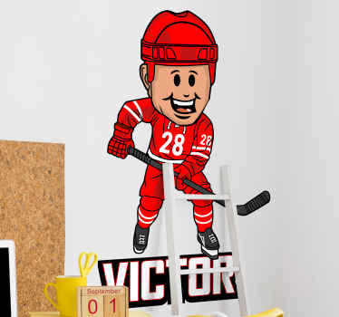 Decorate the bedroom of your teen or young one with our original customisable name hockey player wall sticker. It is easy to apply.
