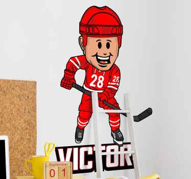 Décorez la chambre de votre adolescent ou de votre jeune avec notre sticker personnalisable original pour joueur de hockey. Il est facile à appliquer.