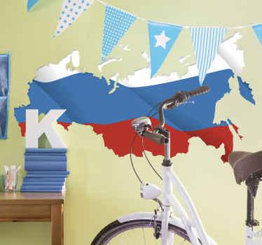 настенная наклейка для флага с картой россии. Идеальное украшение комнаты для подростков, доступно в любом размере.