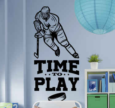 A hockey player wall to decorate the home space with love for hockey sport It is self adhesive and easy to apply on flat surface.
