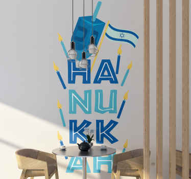 A decorative city location theme decal design of Happy Hanukkah Dreidel, an iconic symbol for Jews. It is self adhesive and available in any size.