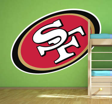 Simbólico Adhesivo del equipo estadounidense de fútbol americano de la NFL: los Niners. Apasionante deporte con gran disciplina.