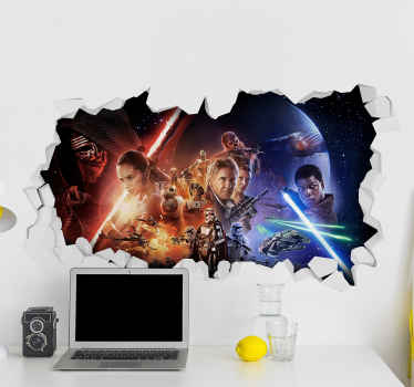 A 3D star wars cinema theme wall decal featured with different characters with their weapons in a magnificent 3D appearnce.