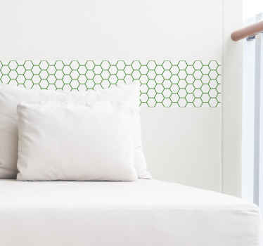 Green hexagonal forms wall border sticker to create a lovely border along a wall space in a bedroom or living room. Available in any size options.