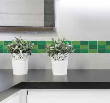 Naklejka z obramowaniem z kafelków w zielonym kolorze. Projekt jest dostępny w dowolnym wymaganym rozmiarze. Idealna do kuchni i łazienki!