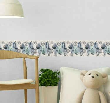 さまざまな海洋要素のデザインの子供用寝室スペース用の装飾ボーダーステッカー。粘着性があり、簡単に塗布できます。