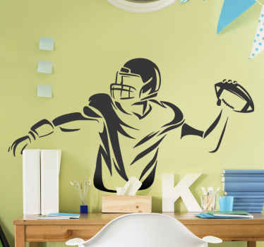 An american football player wall sticker decoration for a bedroom space especially for teens. It is customisable to any required size.
