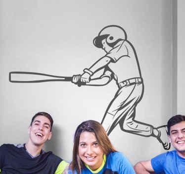 野球選手のバッティングウォールステッカー。野球愛好家のための装飾で、ニーズに合わせてカスタマイズできます。簡単に適用できます。