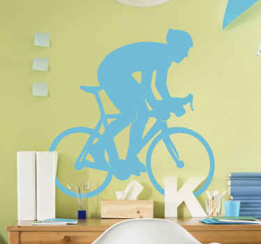 A decorative cycling wall sticker for lovers of cycling and cyclist. The design is made with a cyclist riding on a bike.